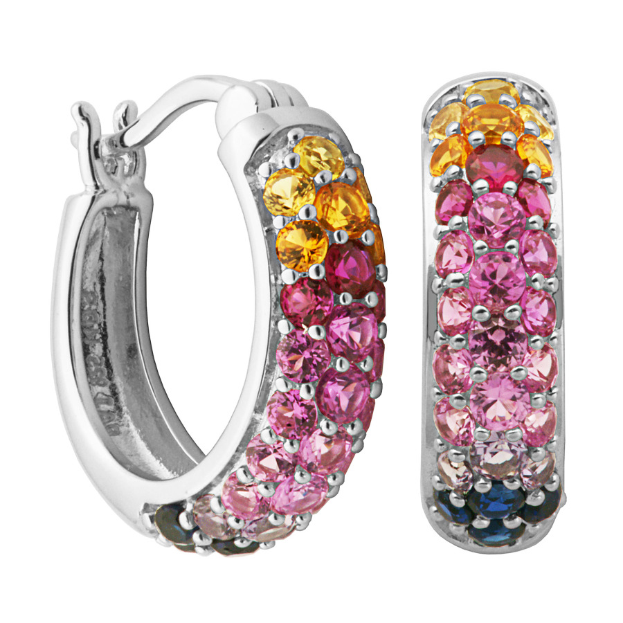 925 Couture Sterling Silver Created Pink In Blue,orange,pink,red,silver Tone,yellow