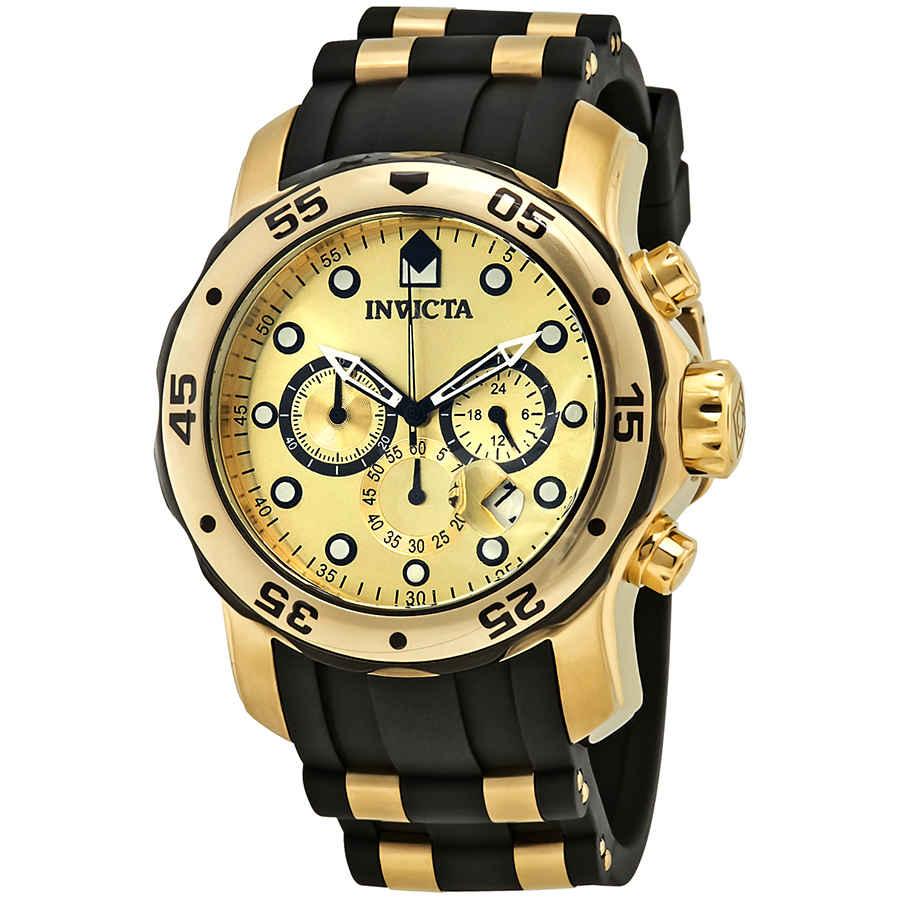 Invicta Pro Diver Chronograph Champagne Dial Black Polyurethane Mens Watch 17885 In Gold