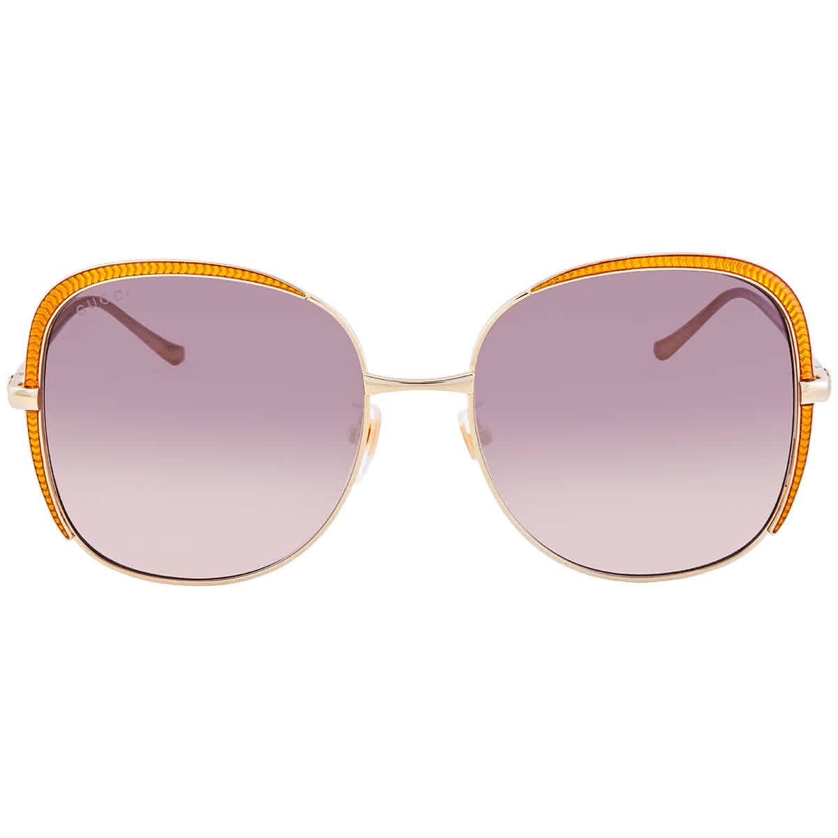 Gucci Rectangular Ladies Sunglasses Gg0400s 002 58 In Gold Tone,orange