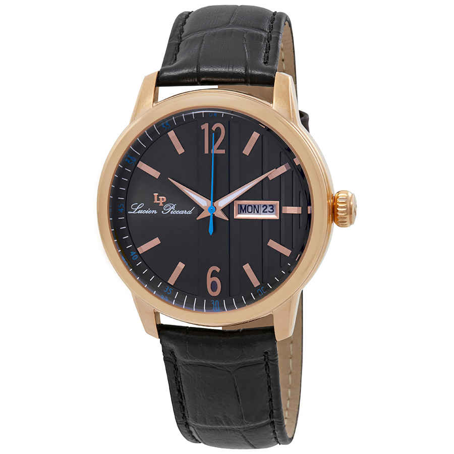 Lucien Piccard Milanese Date Day Mens Watch 40027-rg-01 In Black,gold Tone,pink,rose Gold Tone