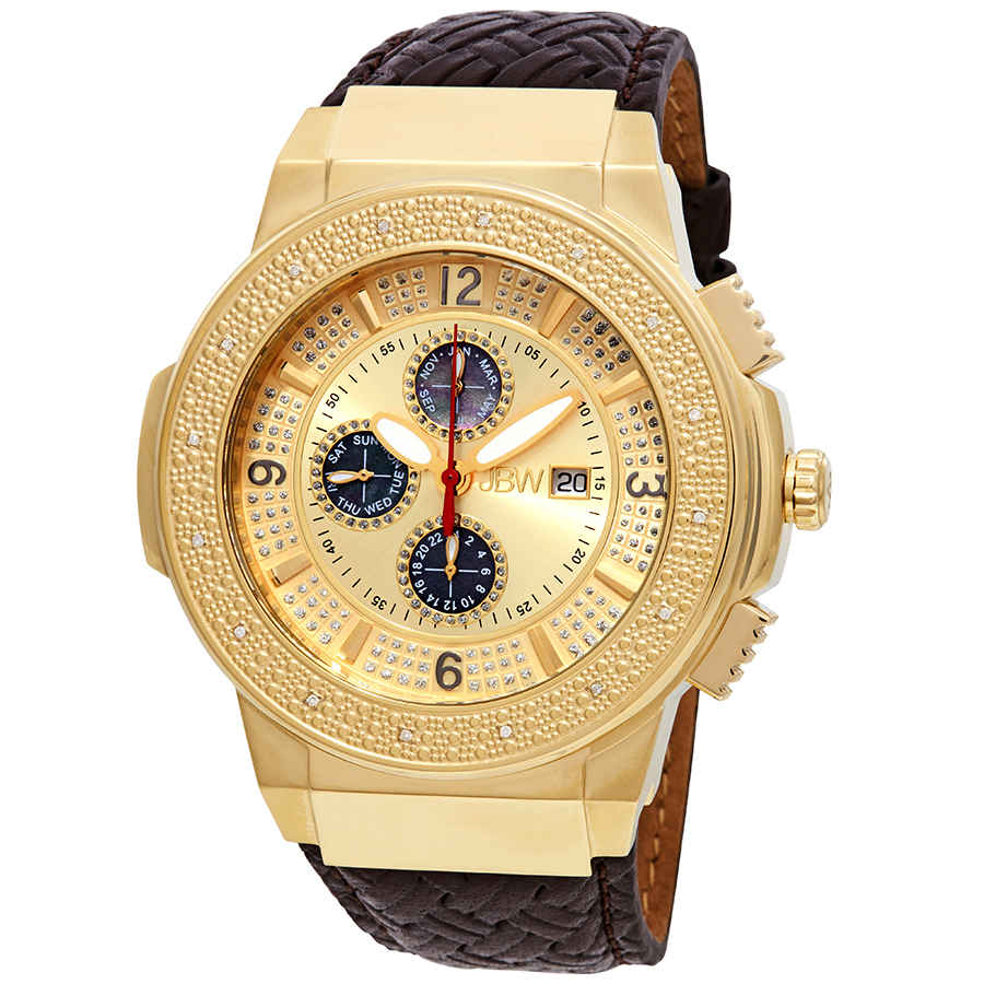 Jbw Saxon Gold-tone Sunray Crystal Dial Gold-tone Stainless Steel Diamond Bezel Brown Leather Strap Mens