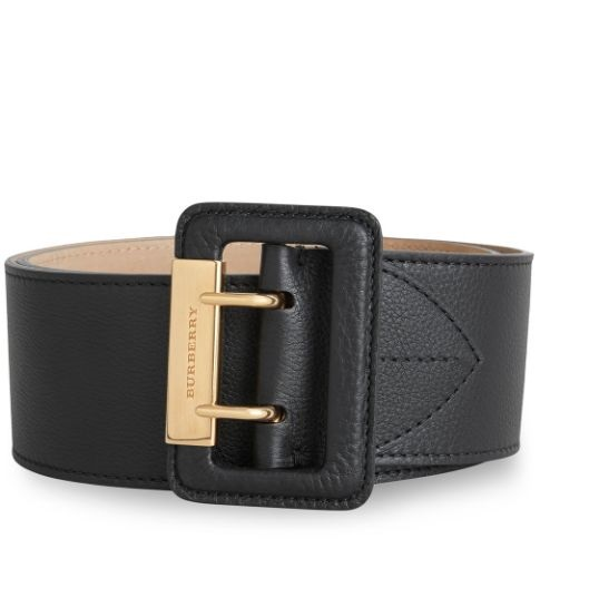 Burberry Ladies Cecille Thick Leather Belt In Black,gold Tone