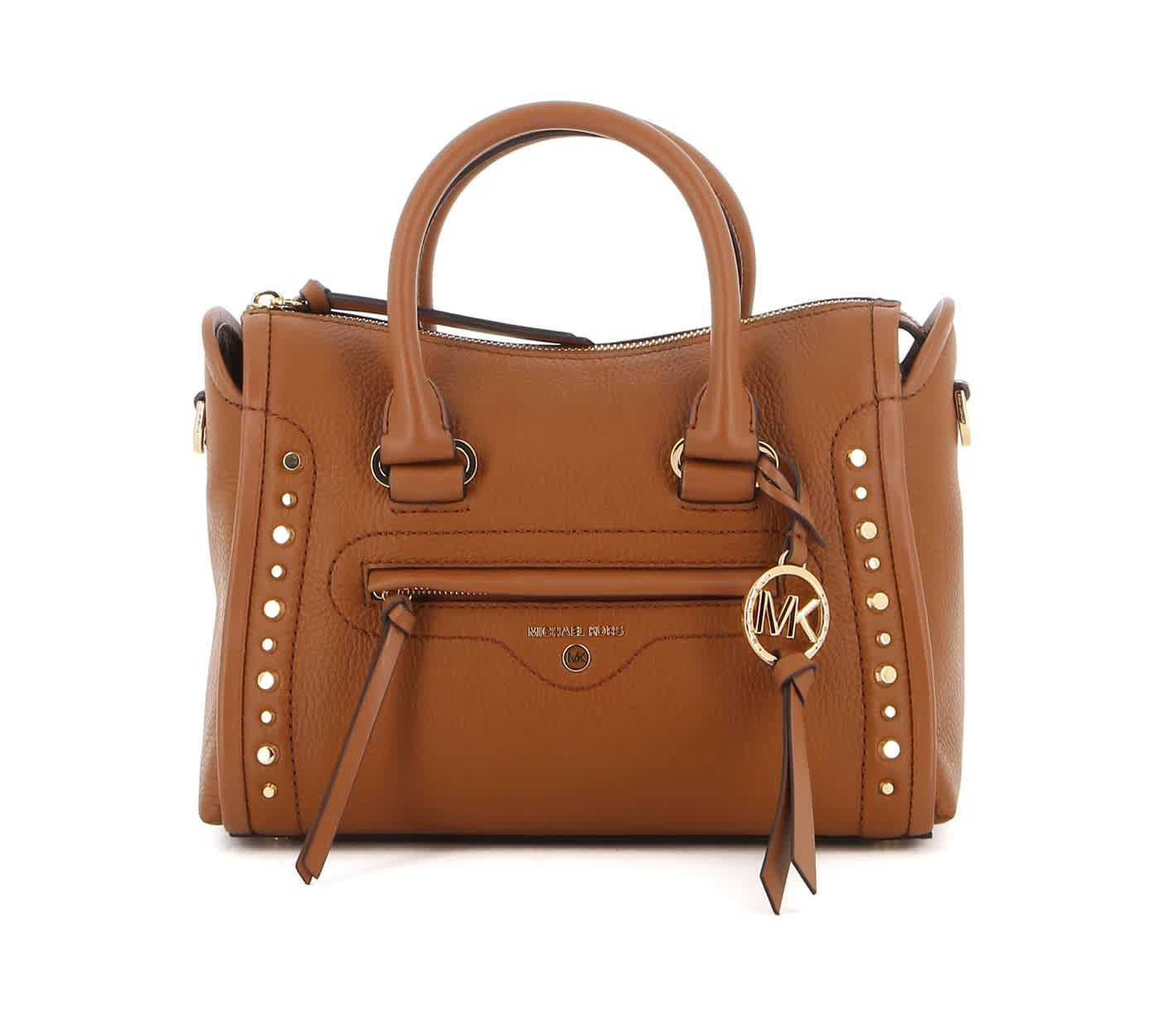 Michael Kors Carine Small Studded Pebbled Leather Satchel In Luggage