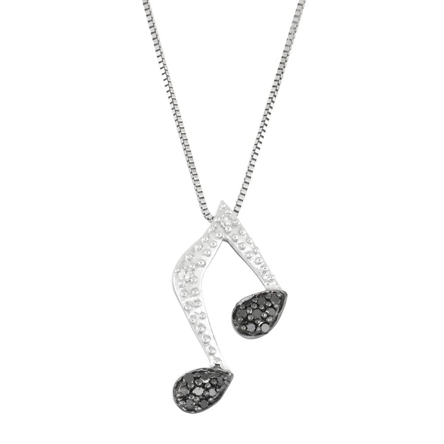Hetal Diamonds 1/10 Cttw Black Diamonds Musical Note Necklace In Metallic