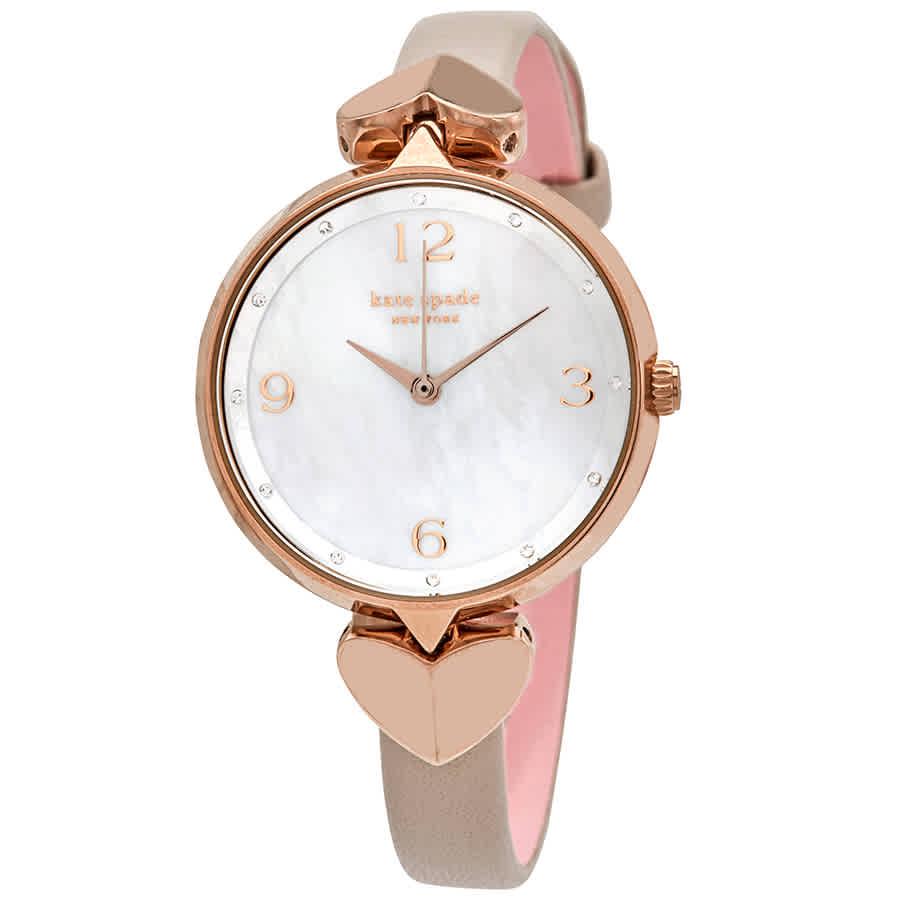 Kate Spade Hollis Quartz Crystal Mother Of Pearl Dial Ladies Watch Ksw1548 In Pink