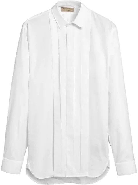 Burberry Mens Modern Fit Cotton Poplin Dress Shirt In White