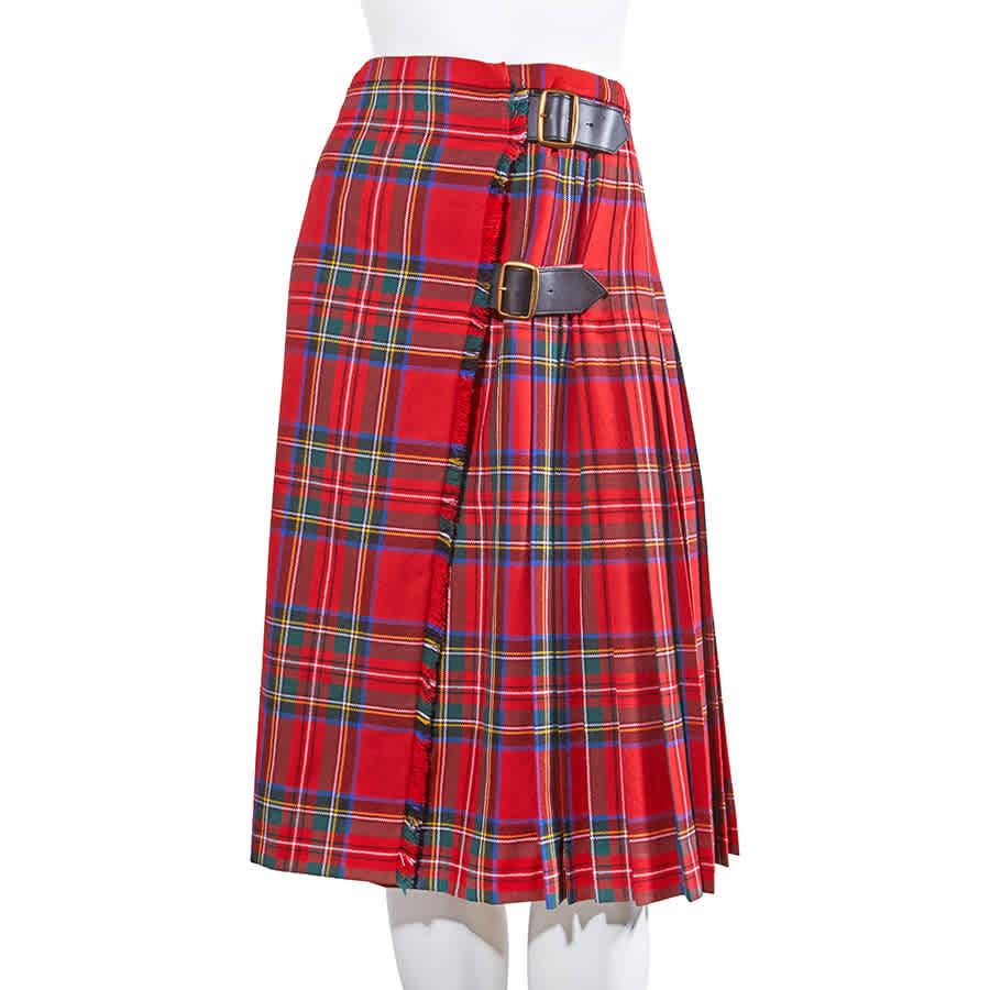 Burberry Ladies Bright Red Tartan Check Pleated Skirt