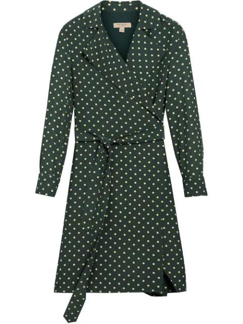 Burberry Janis Polka Dot Silk Wrap Dress In Racing Green