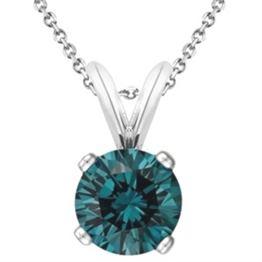 Maulijewels Blue Round 0.20 Carat Diamond Solitaire Pendant In 14k White Gold With 18'' 14k White Gold Plated St In Blue,gold Tone,silver Tone,white