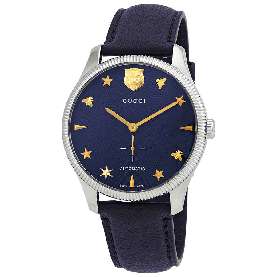 Gucci G-timeless Automatic Blue Dial Mens Watch Ya126347 In Blue,gold Tone,silver Tone
