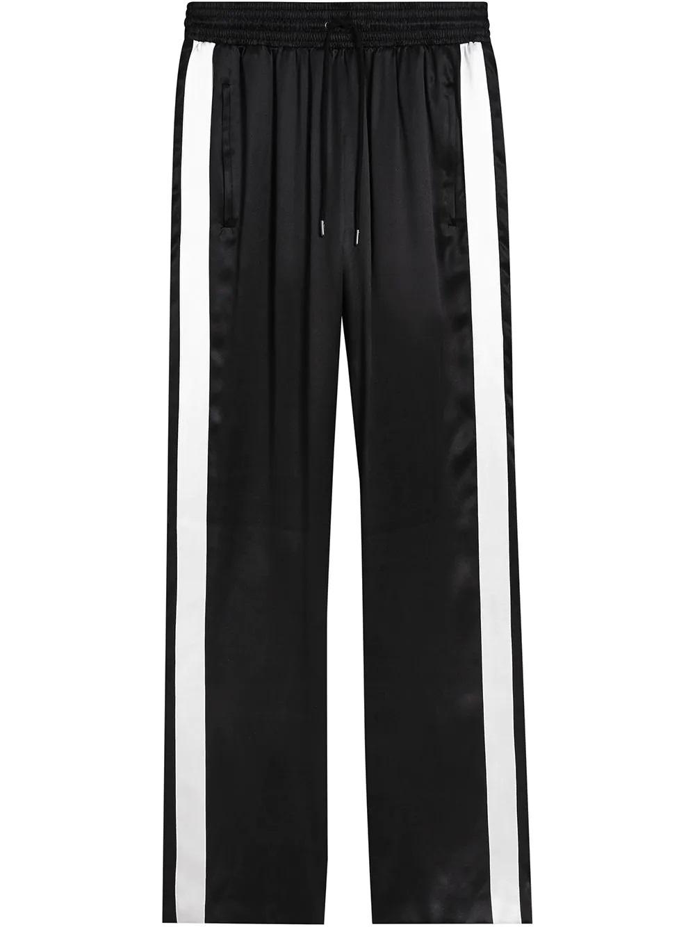 Burberry Ladies Black Side-stripe Straight Silk-satin Trousers