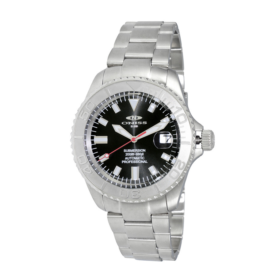 Oniss Automatic Black Dial Mens Watch On5515-11-bk In Metallic