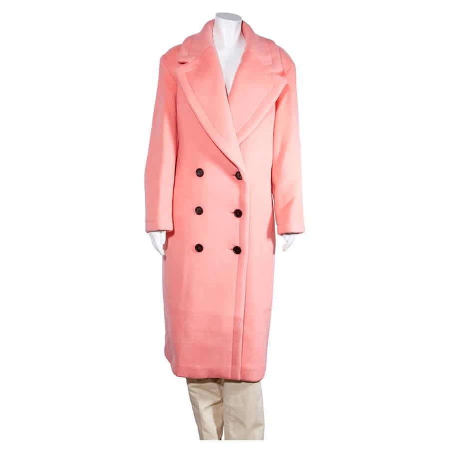 Burberry Ladies Coat Coral Double Breast Wool Coat In Pink