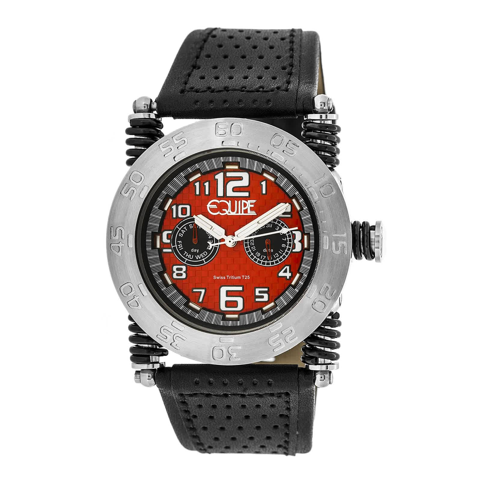 Equipe Tritium Coil Red Dial Mens Watch Et106 In Black,red,silver Tone
