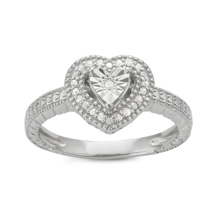 Hetal Diamonds 0.10cttw Illusion Plate Diamond Heart Ring In Sterling Silver In White