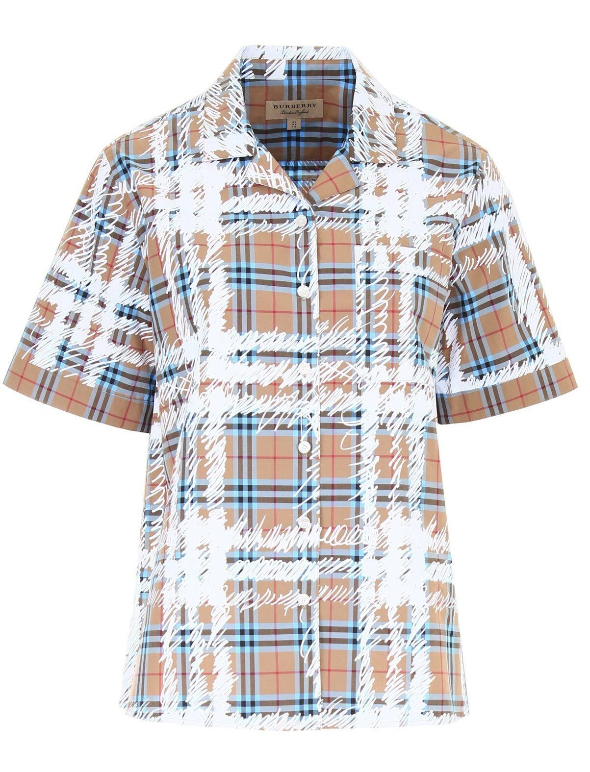 Burberry Ladies Short Sleeve Cotton Shirt In Bright Mineral Blue