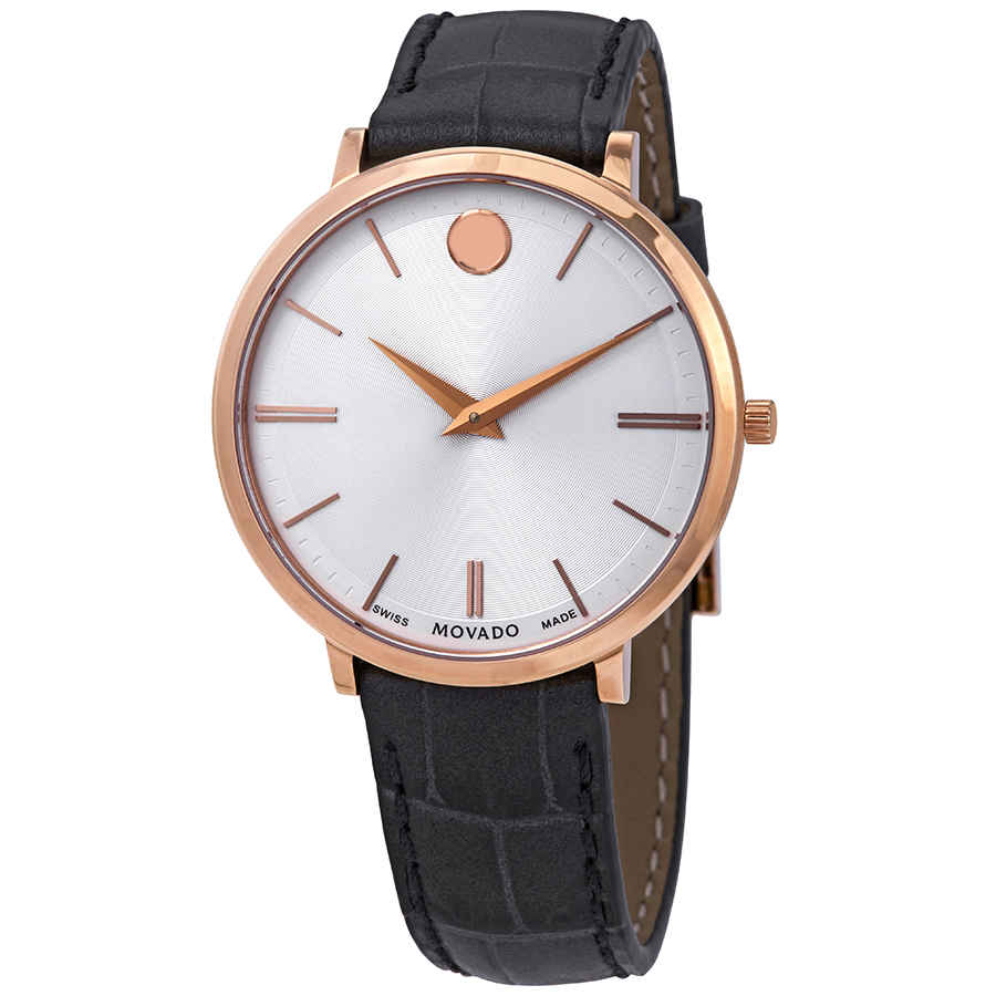 MOVADO SILVER DIAL MENS BLACK LEATHER WATCH 0607177