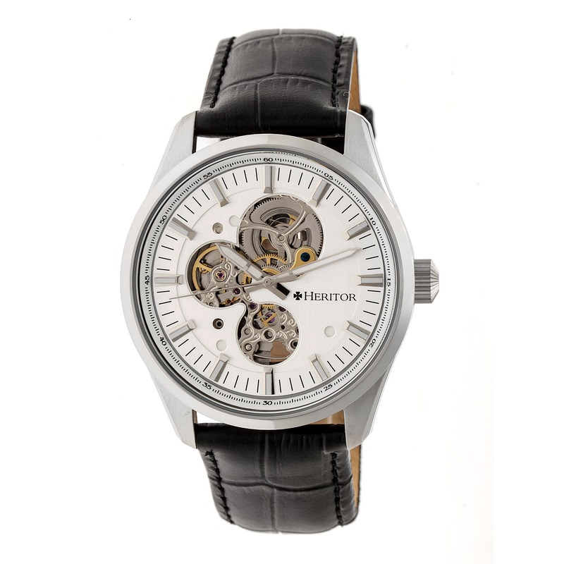 Heritor Stanley Automatic Silver Open Heart Dial Mens Watch Hr6503 In Black,silver Tone