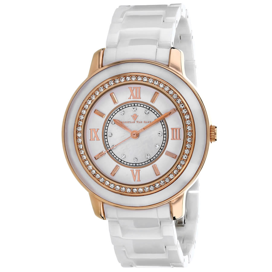 Christian Van Sant Clay Quartz Ladies Watch Cv3212 In Gold Tone,mother Of Pearl,pink,rose Gold Tone,white