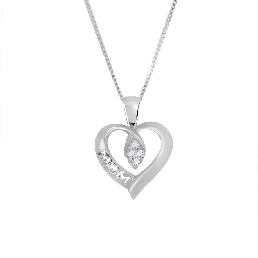 Maulijewels 0.06 Carat Natural Diamond Mom Heart Pendant For Woman Crafted In 10k White Gold With 18'' Sterling  In Gold Tone,silver Tone,white