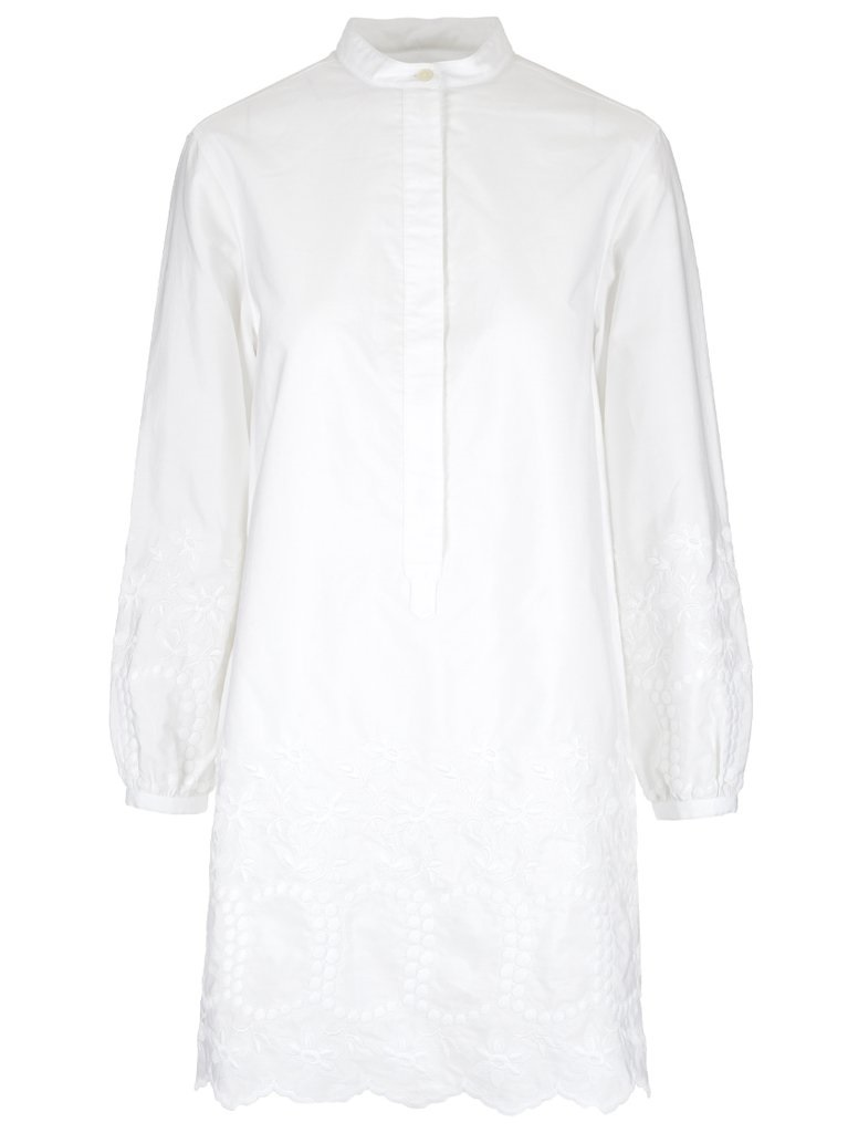 Burberry Aronia Embroidered Dress In White