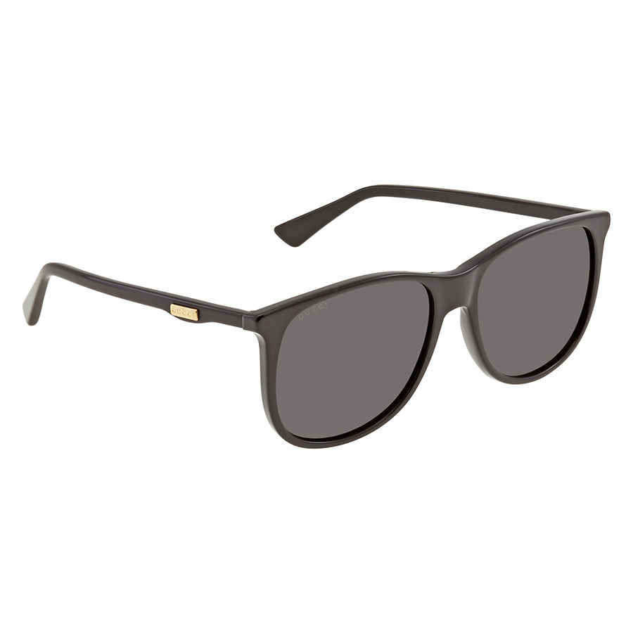 Gucci Grey Rectangular Unisex Sunglasses Gg0263s 001 57 In Black,grey