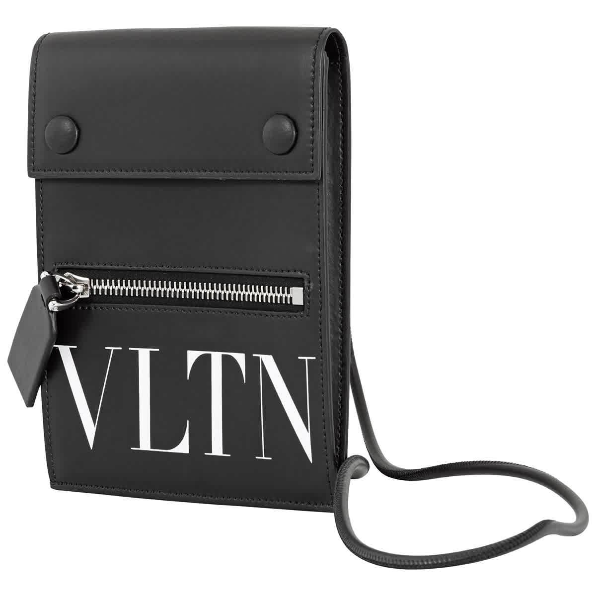 Valentino Garavani Black Vltn Phone Case With Neck Strap