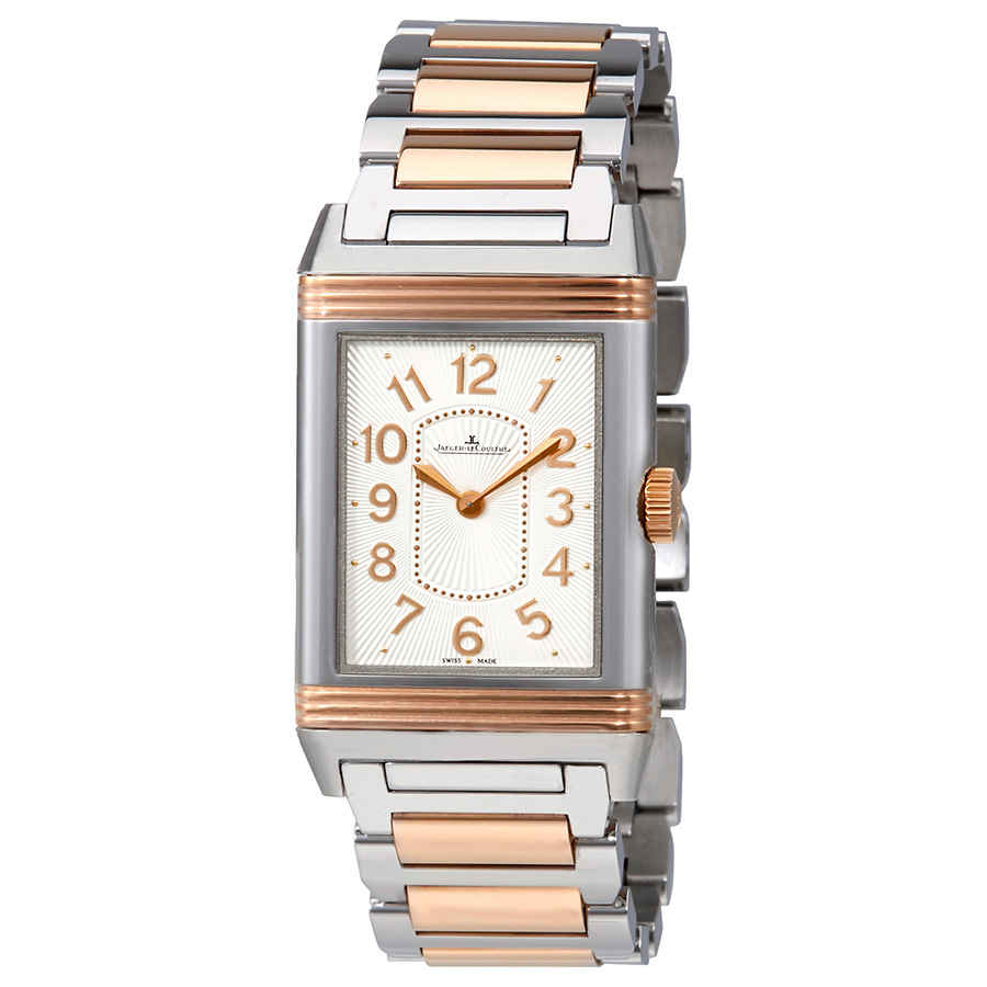 Jaeger-lecoultre Grande Reverso Silver Dial Steel And 18kt Rose Gold Ladies Watch Q3204120 In Metallic