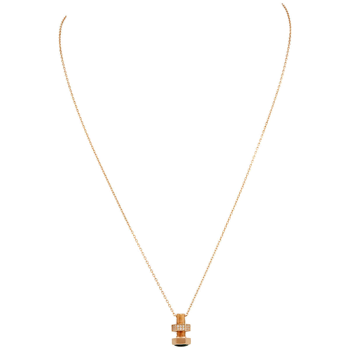 Picasso And Co 18kt Rose Gold Screw Pendant In Gold Tone,green,pink,rose Gold Tone