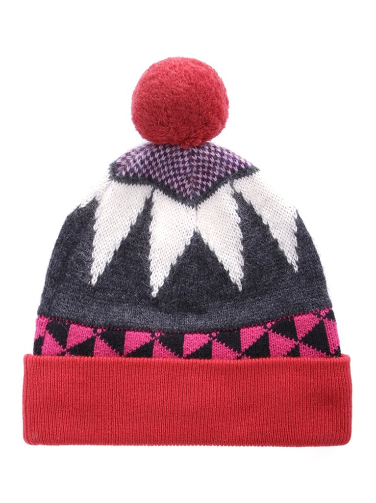 Burberry Ladies Triangle Jacquard Pompom Beanie In Gray
