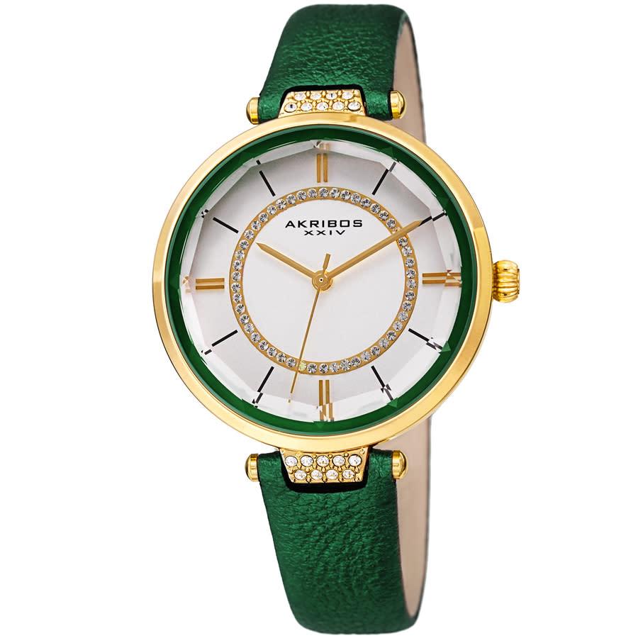 Akribos Xxiv Quartz White Dial Green Leather Ladies Watch Ak1116gn