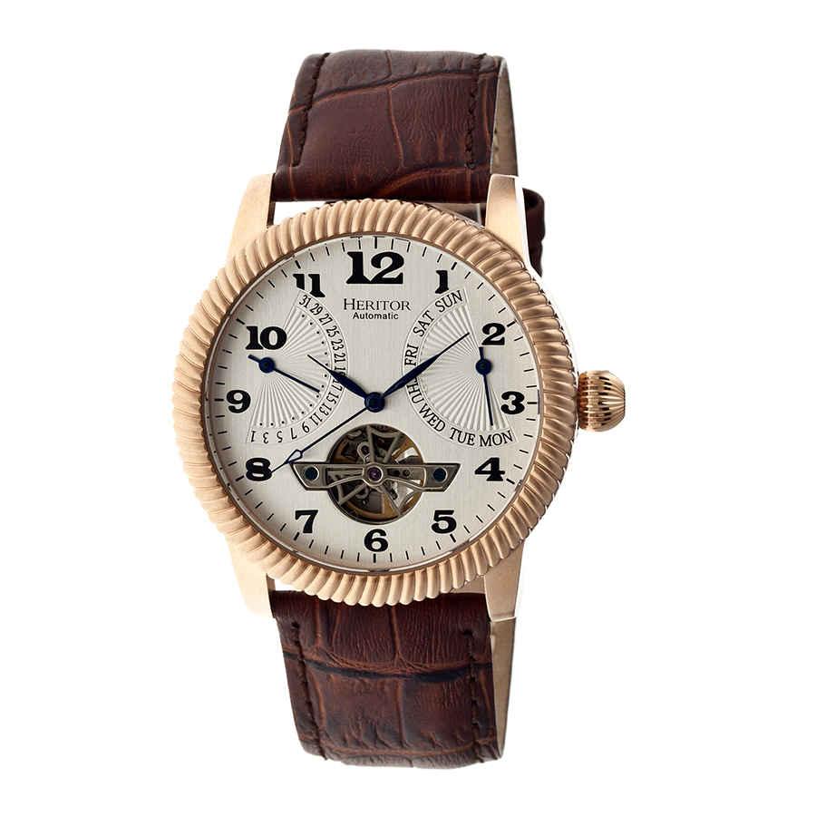 Heritor Piccard Automatic Silver Dial Brown Leather Mens Watch Hr2005 In Blue,brown,gold Tone,pink,rose Gold Tone,silver Tone