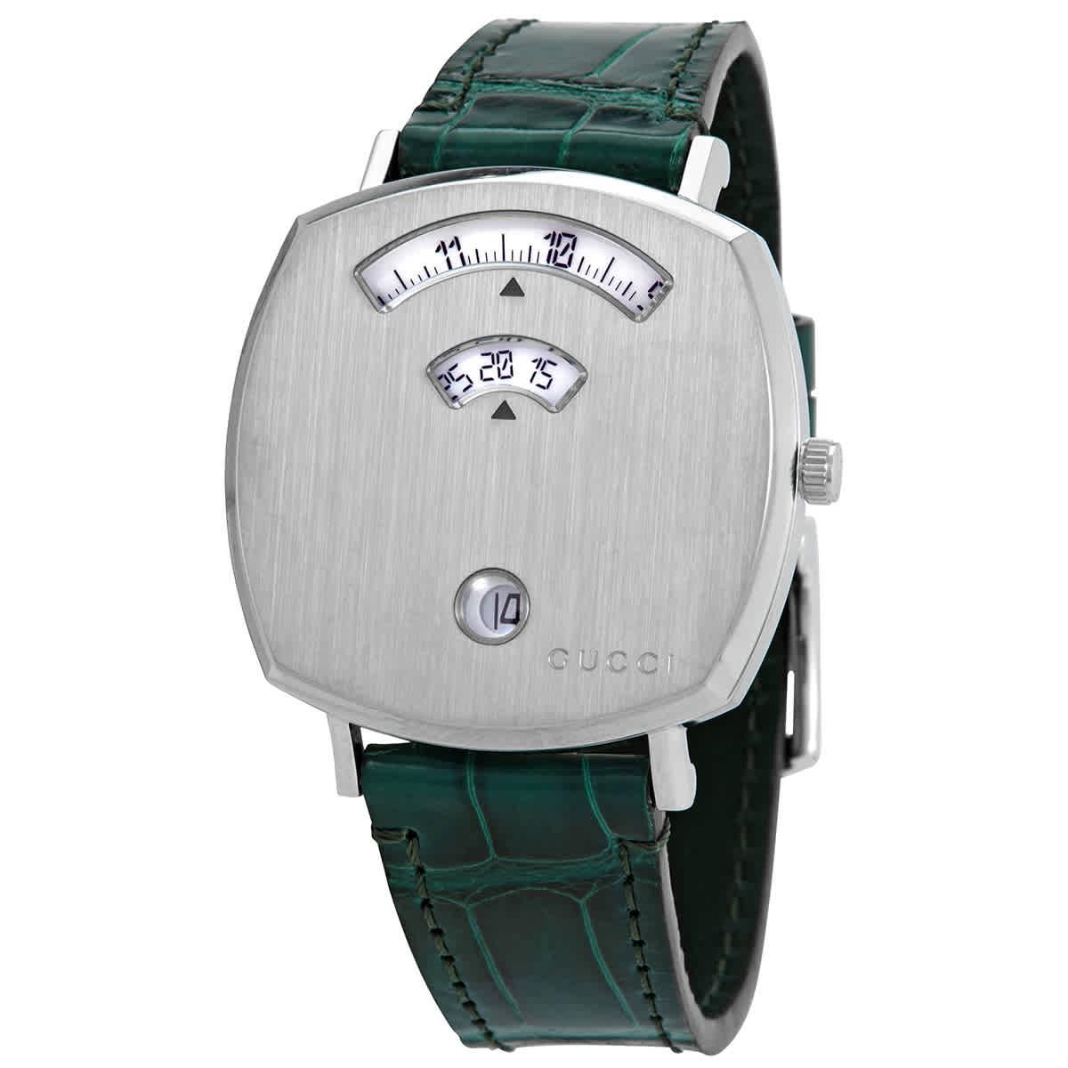 Gucci Grip Quartz Silver Dial Ladies Watch Ya157404 In Green
