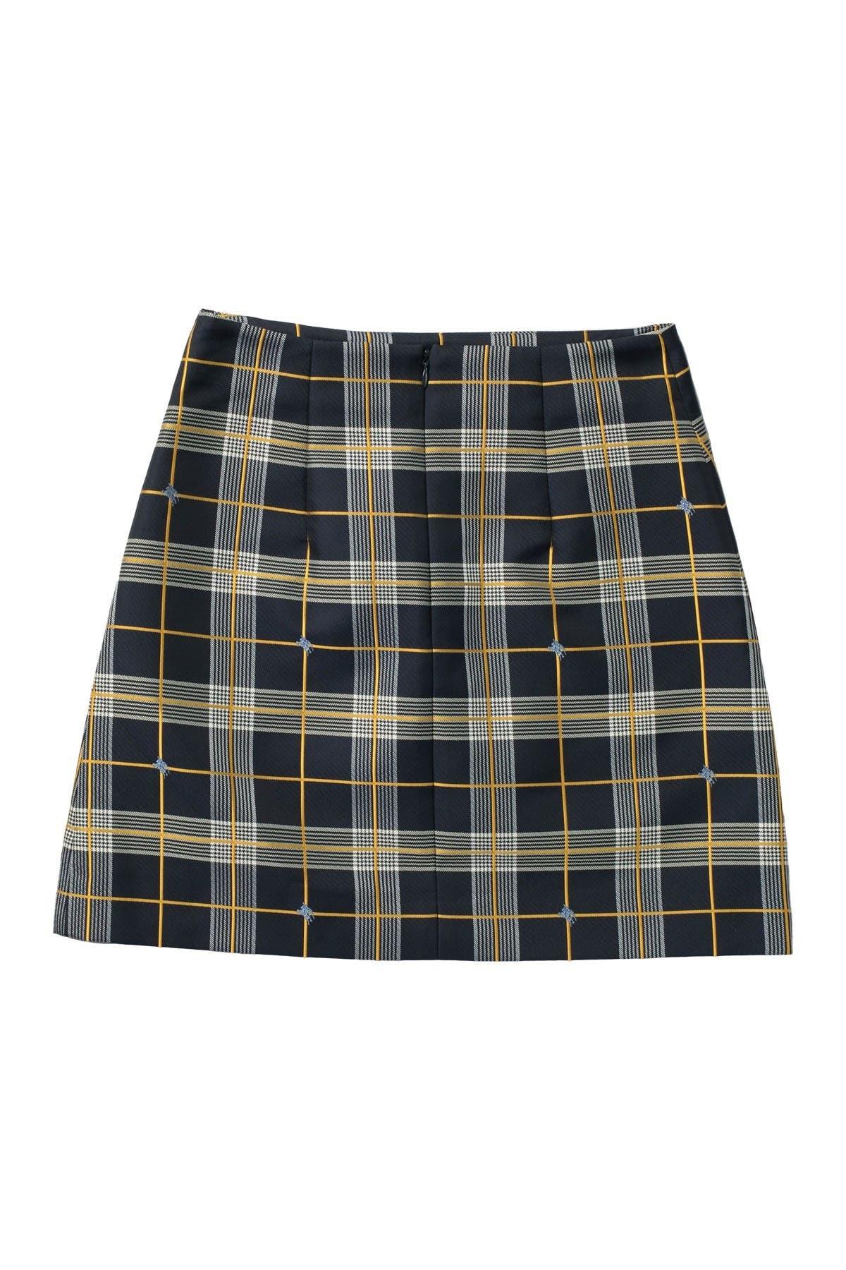 Burberry Ladies Navy Check Mini Skirt In Blue