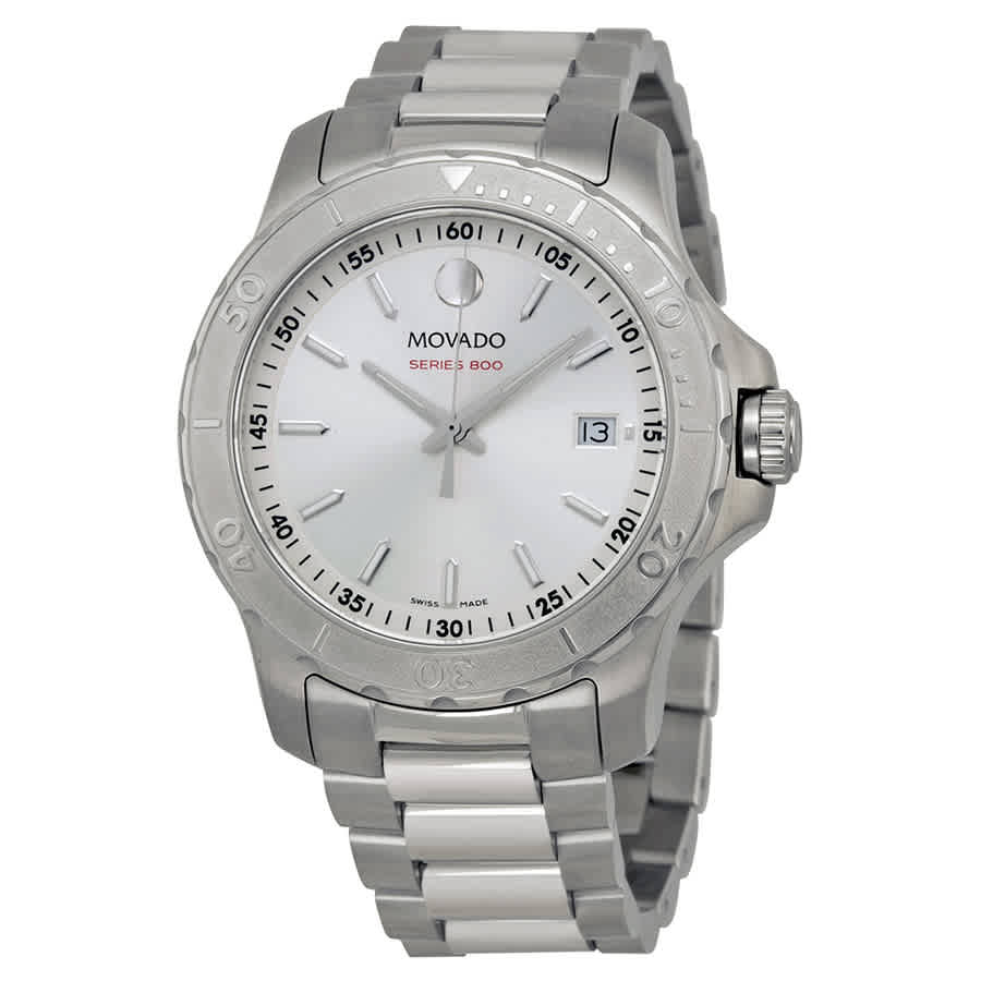 MOVADO SERIES 800 SILVER DIAL STAINLESS STEEL MENS WATCH 2600116