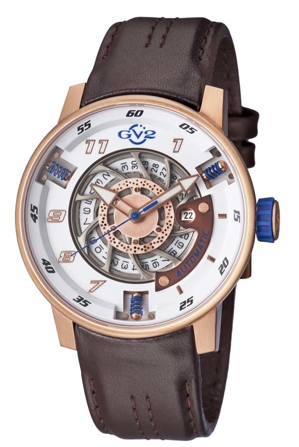 Gv2 By Gevril Motorcycle Sport Automatic White Dial Mens Watch 1302 In Brown