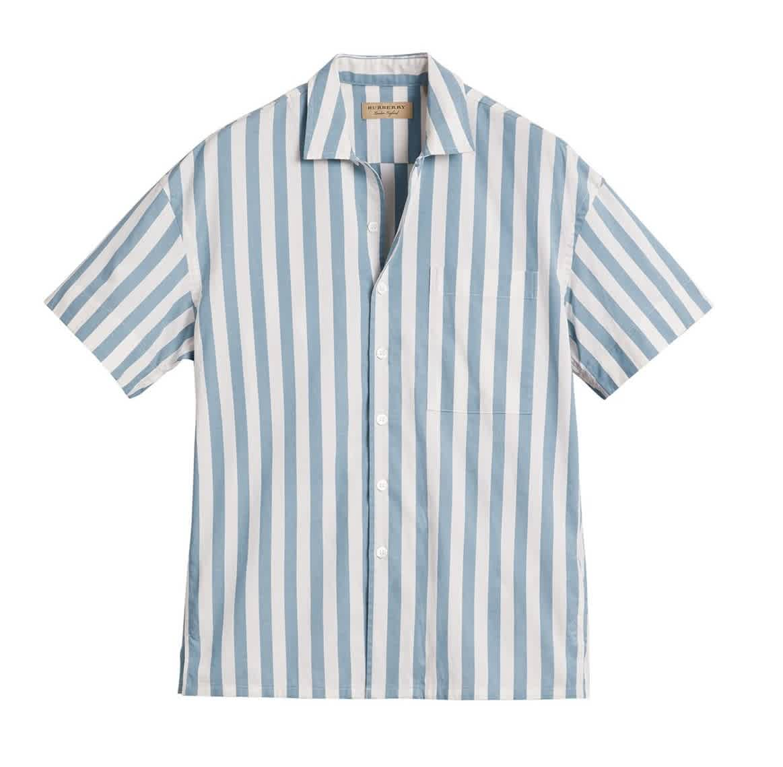 Burberry Mens Opal Blue Stripe Short-sleeve Shirt