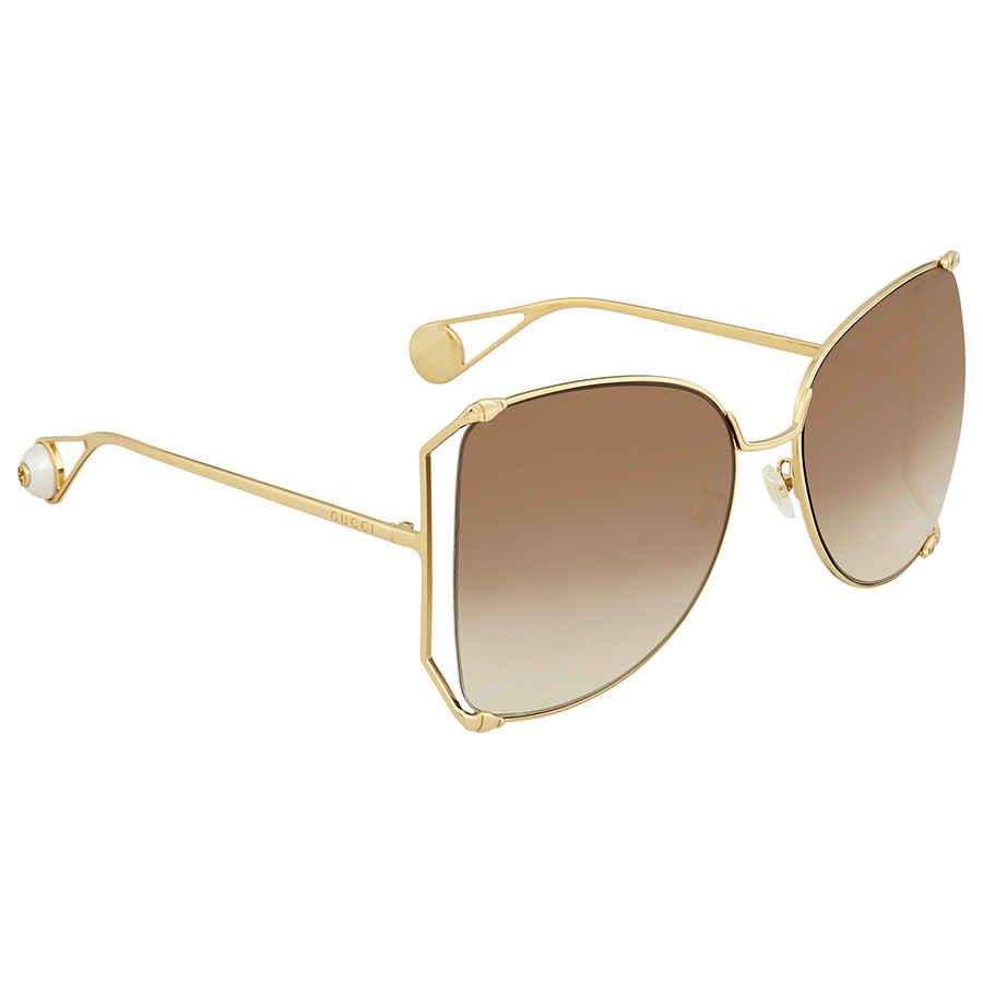 Gucci Brown Gradient Sunglasses Gg0252s-003 63 In Brown,gold Tone