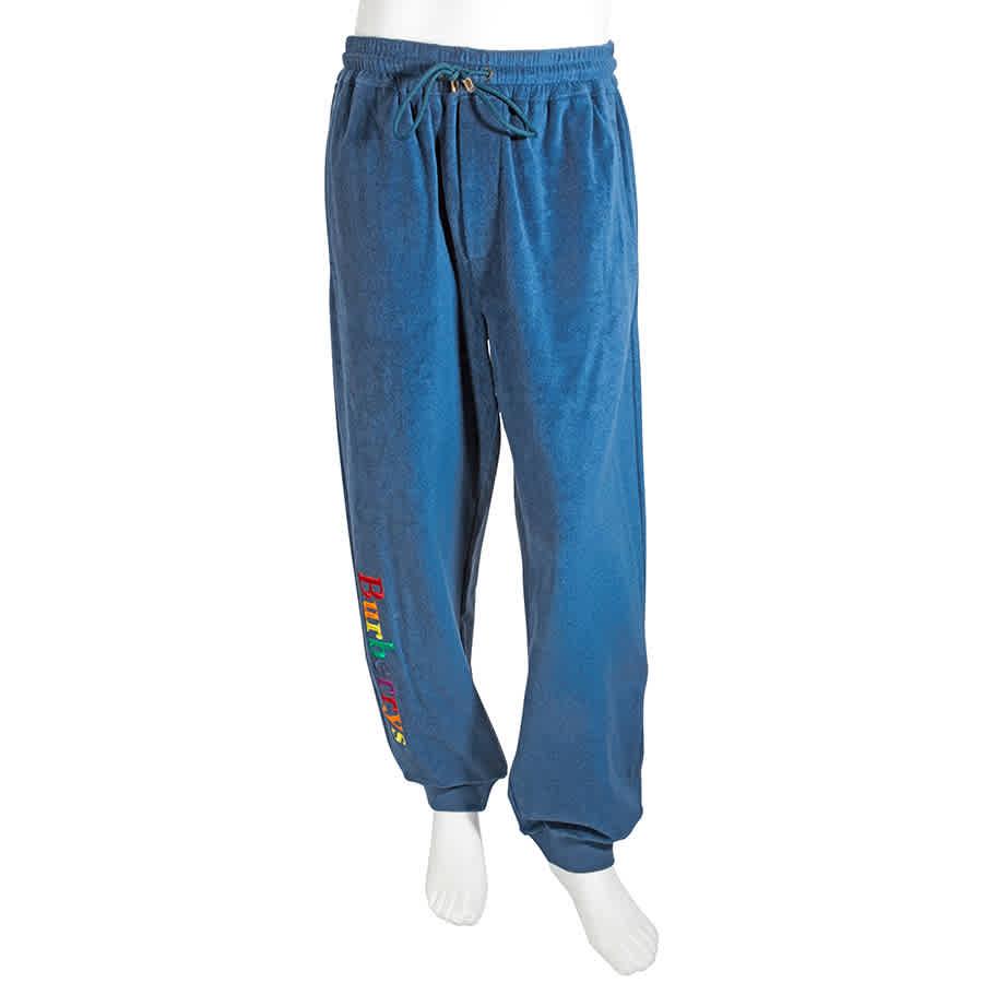 Burberry Mens Blue Archive Logo Towelling Sweatpants