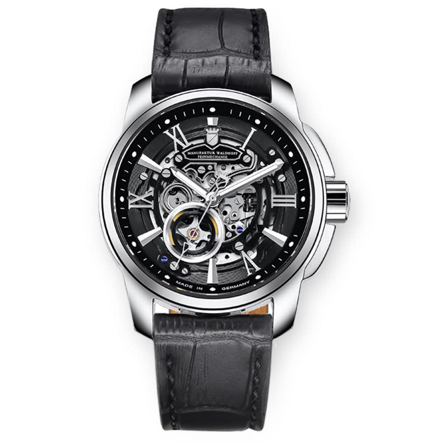 Waldhoff Republic Automatic Black Dial Mens Watch 04c In Black,silver Tone