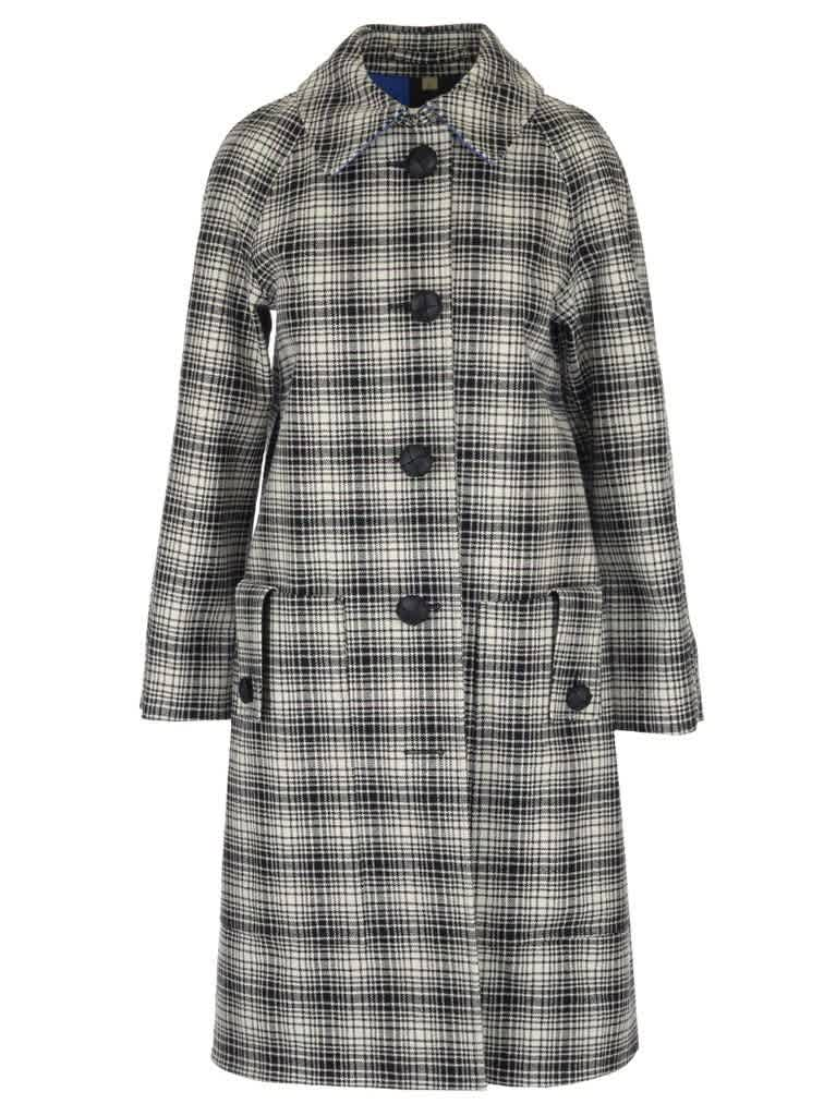 Burberry Ladies Check Wool Tailored Coat In White