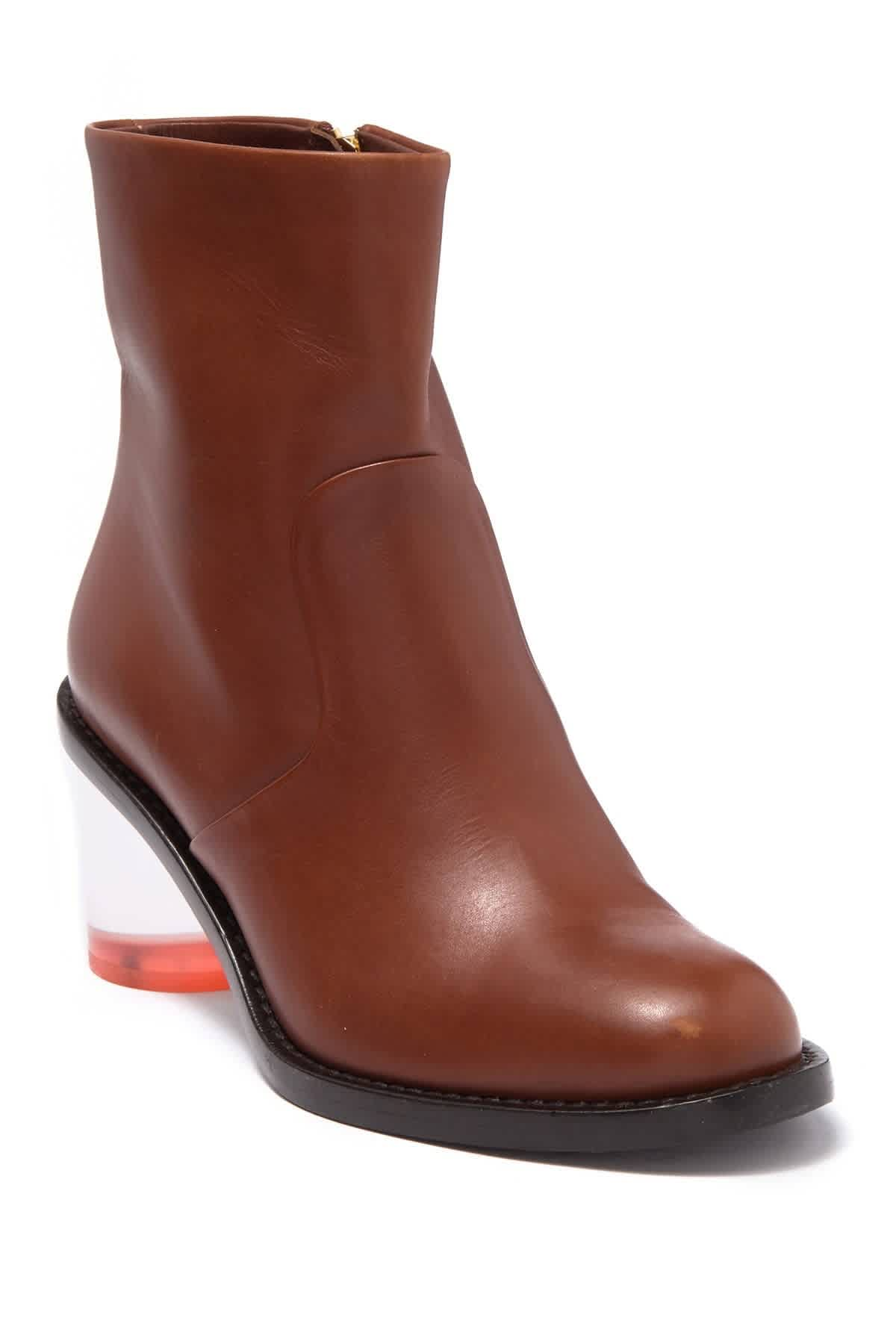 Burberry Westella Two-tone Leather Block-heel Boots In Cognac In Brown,two Tone