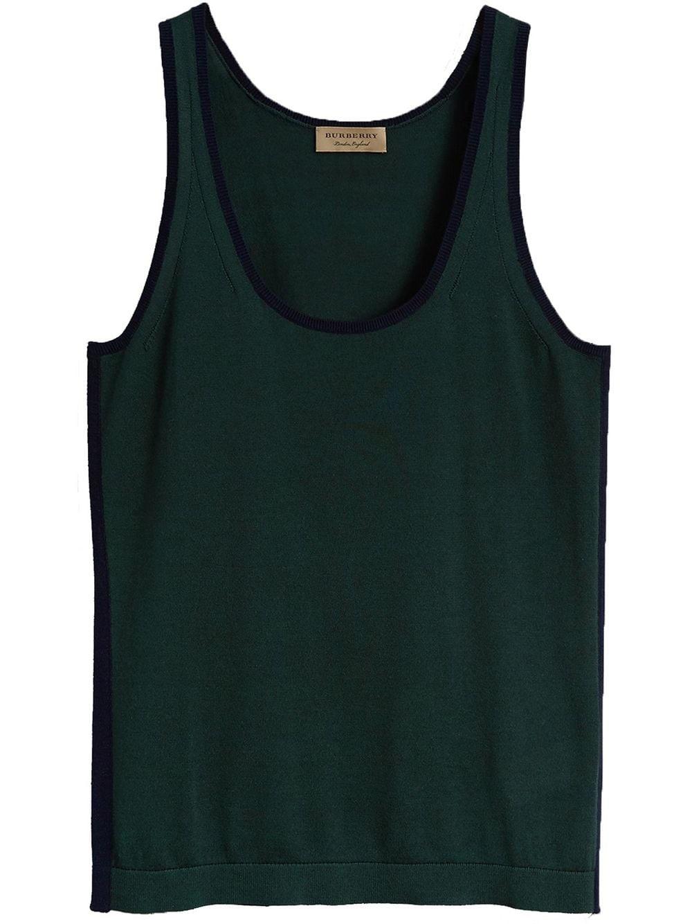 Burberry Nash Scoop Neck Silk Blend Tank In Green