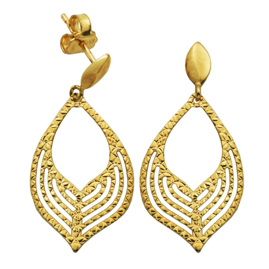 Treesse 10k Yellow Gold Teardrop Textured Drop Stud Earrings In Gold Tone,yellow