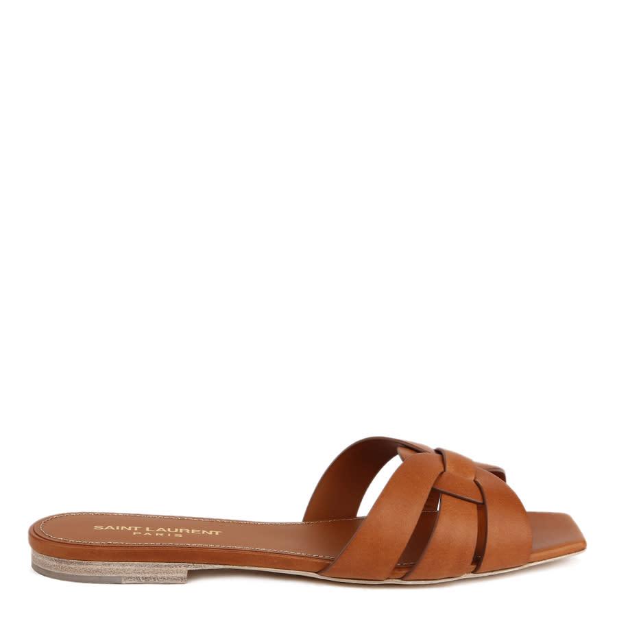 Saint Laurent Ladies Brown Sandals In Brown,orange