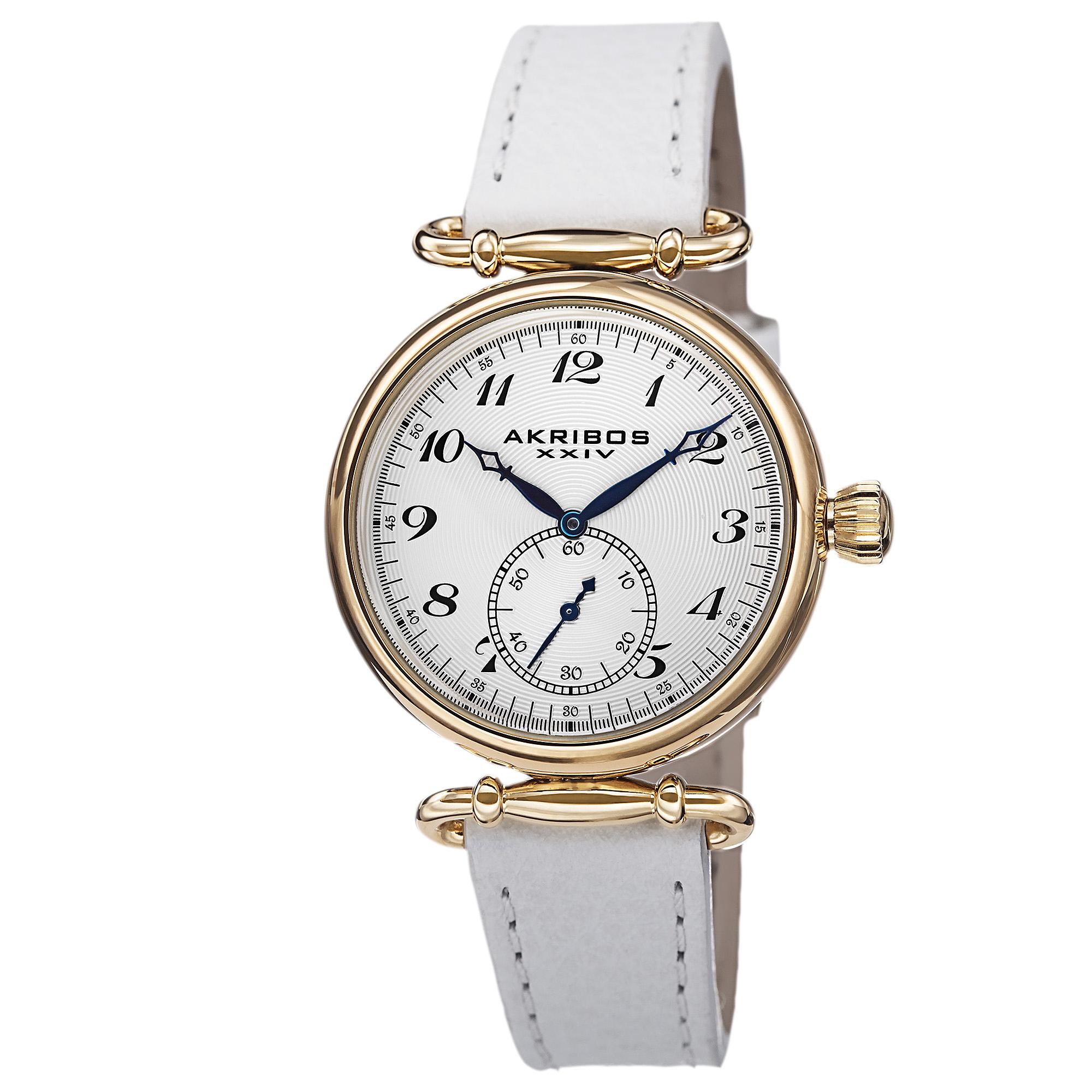 Akribos Xxiv White Dial White Leather Ladies Watch Ak704wt