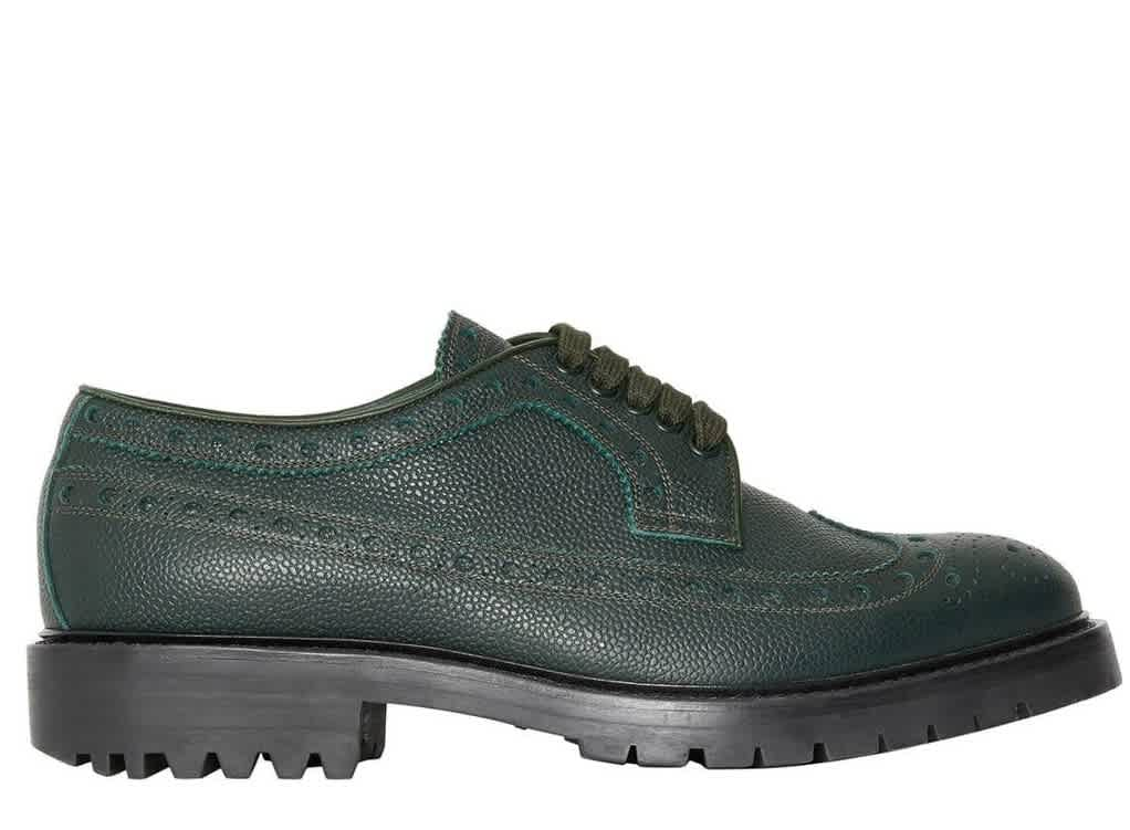 Burberry Alexre Brogue Detail Grainy Leather Derby Shoes In Green