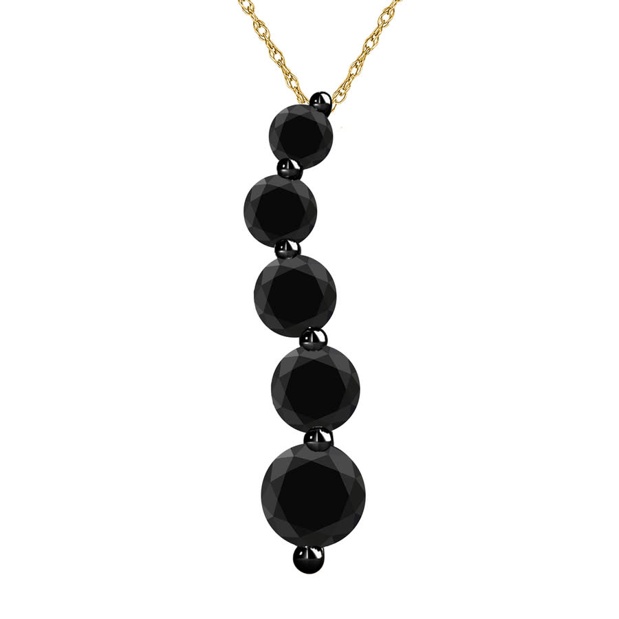 Maulijewels 2.0 Ct Black Natural Diamond 5-stone Journey Pendant Necklace In 14k Solid Yellow Gold With 18'' Ste In Black,gold Tone,silver Tone,yellow