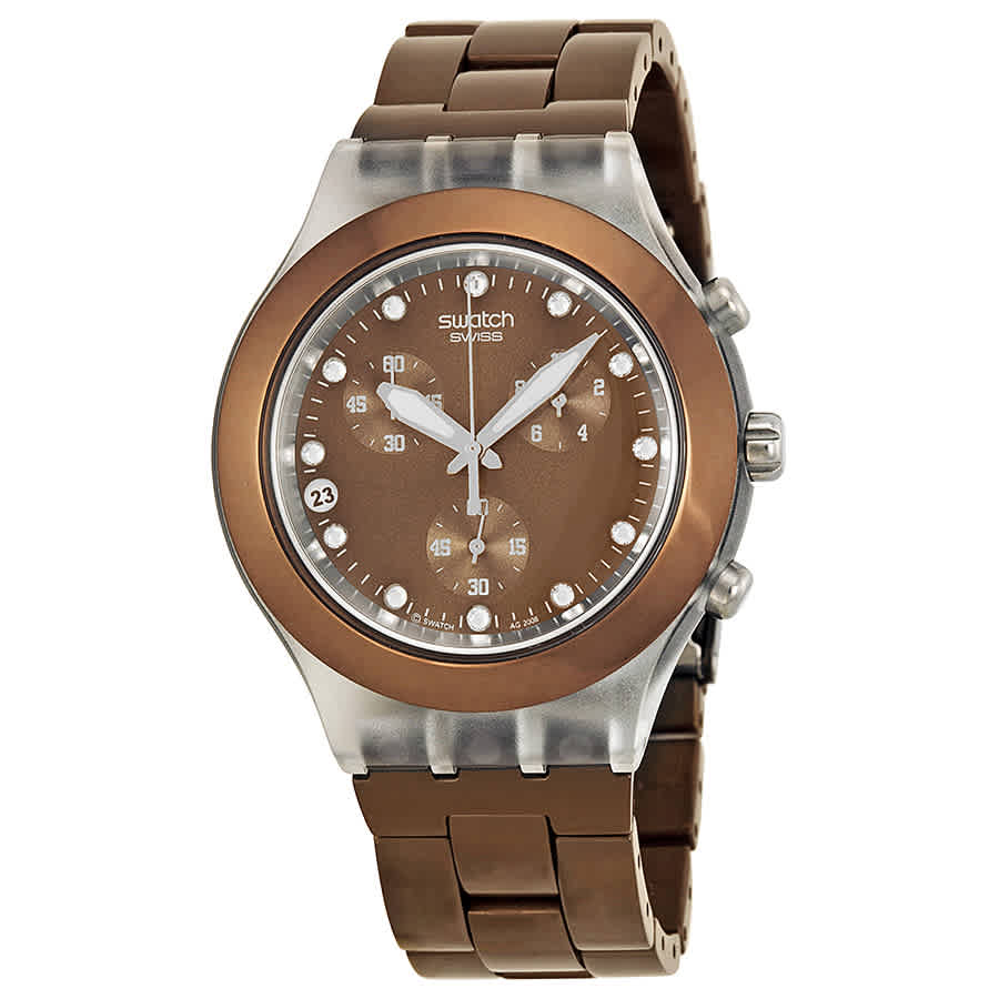 Swatch Irony Diaphane Chrono Full Blooded Earth Watch Svck4042ag In Brown