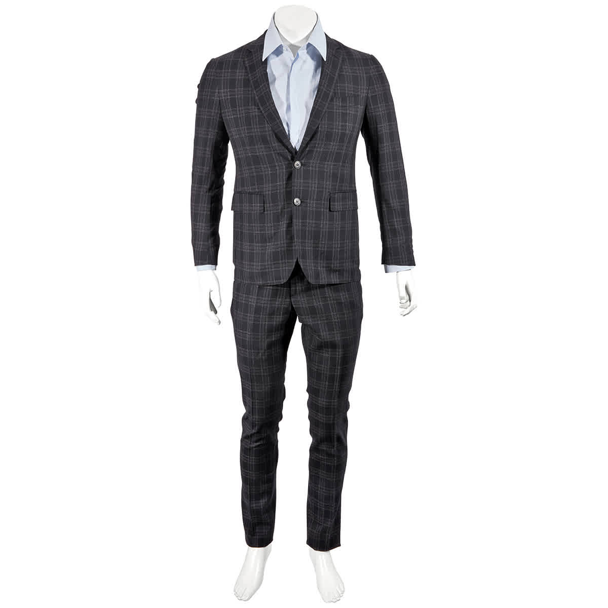 Burberry Mens Black Soho Fit Check Wool Suit
